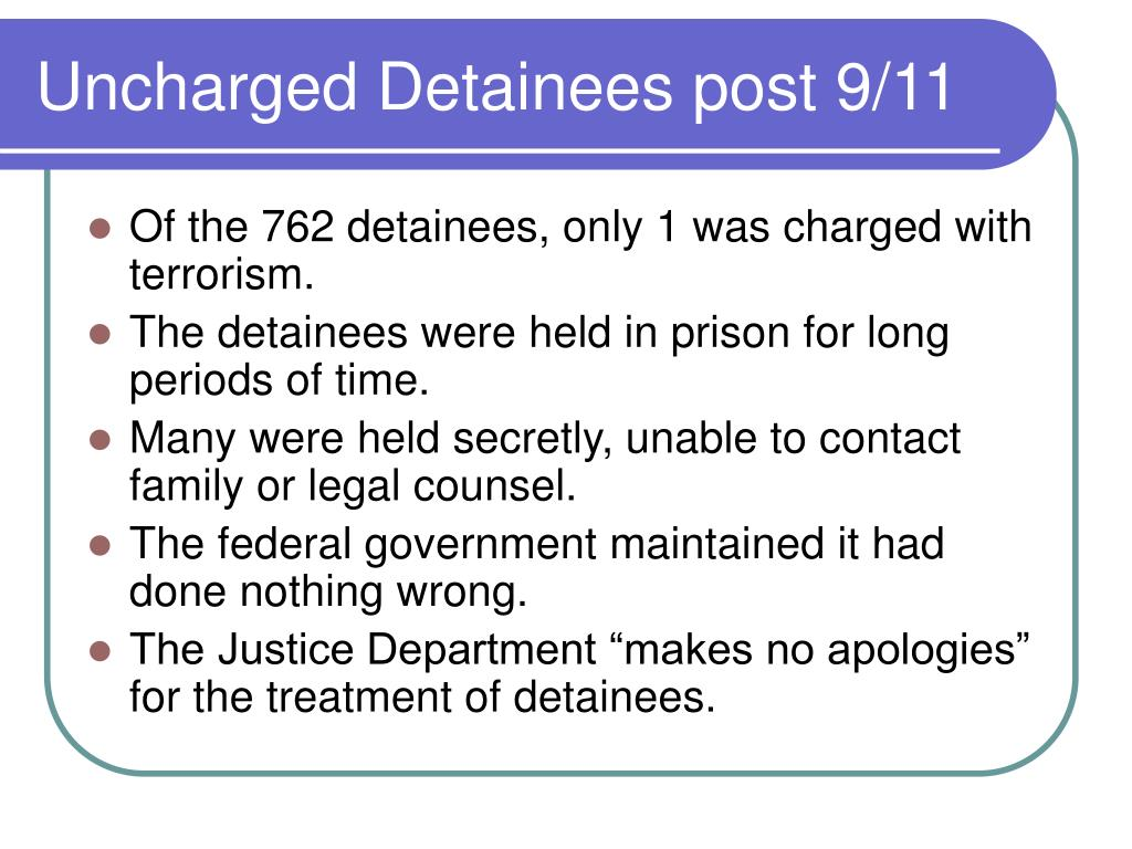 Uncharged Detainees post 9/11