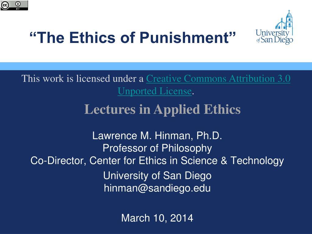 """The Ethics of Punishment"""