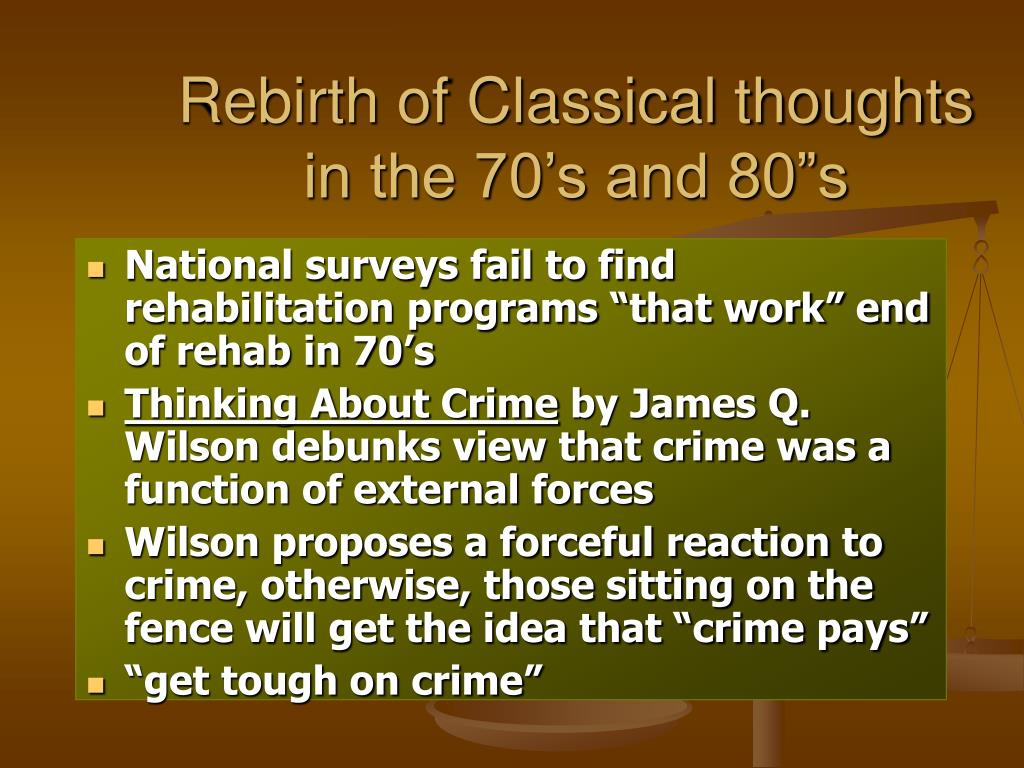 "Rebirth of Classical thoughts in the 70's and 80""s"