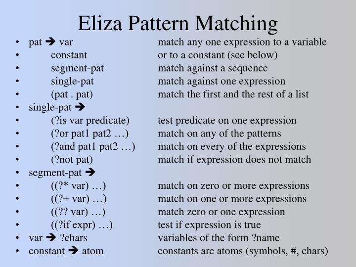Eliza Pattern Matching