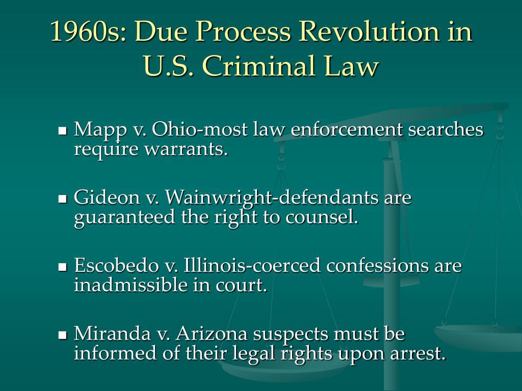 1960s: Due Process Revolution in U.S. Criminal Law