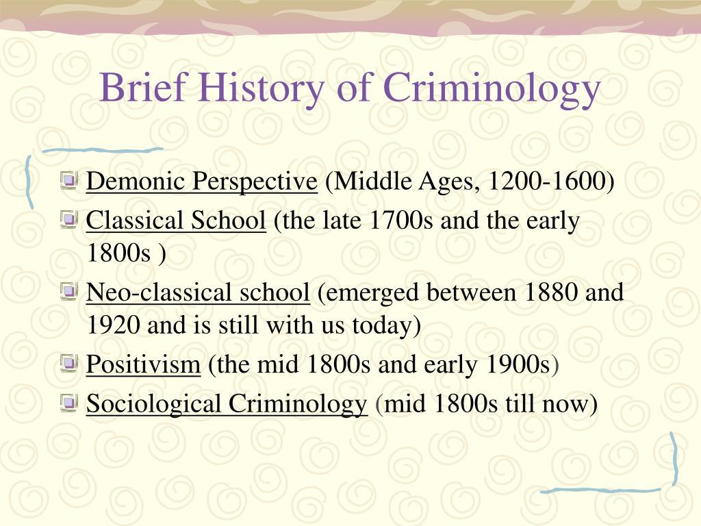 Brief History of Criminology