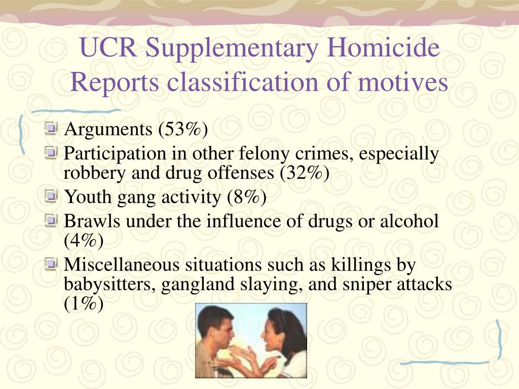 UCR Supplementary Homicide Reports classification of motives