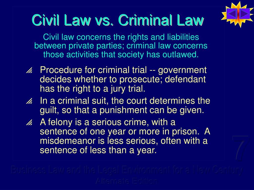 Civil Law vs. Criminal Law
