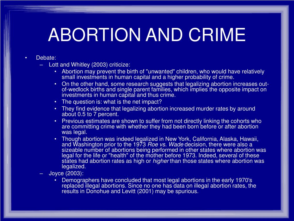 ABORTION AND CRIME