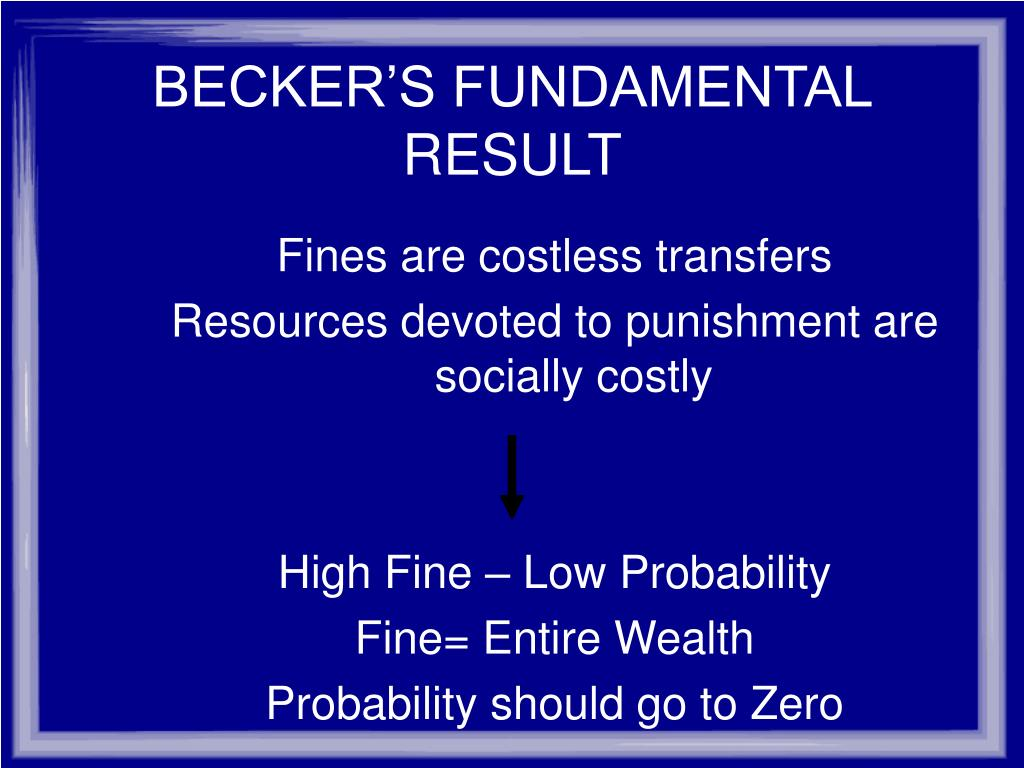 BECKER'S FUNDAMENTAL RESULT