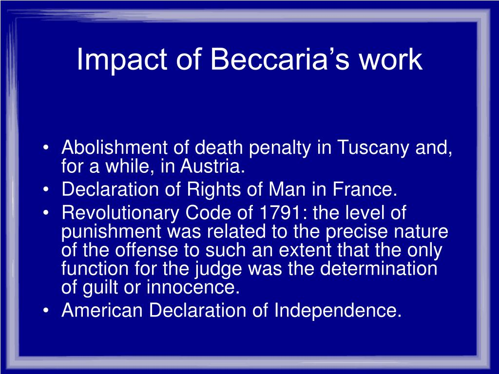 Impact of Beccaria's work