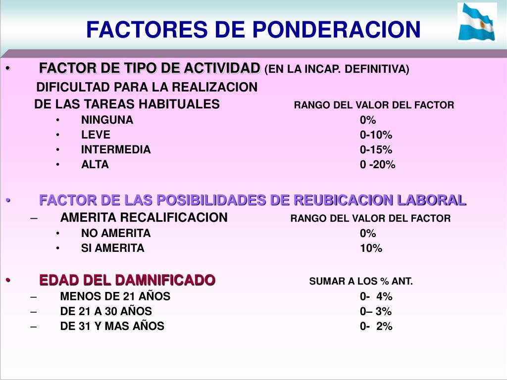 FACTORES DE PONDERACION