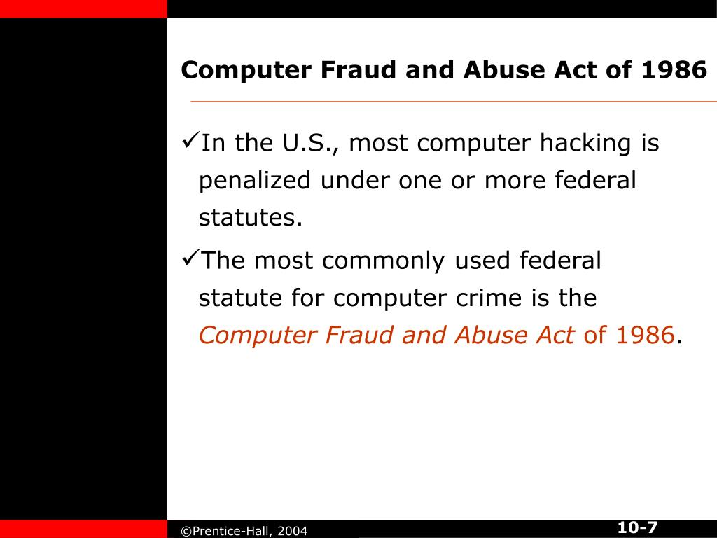 Computer Fraud and Abuse Act of 1986