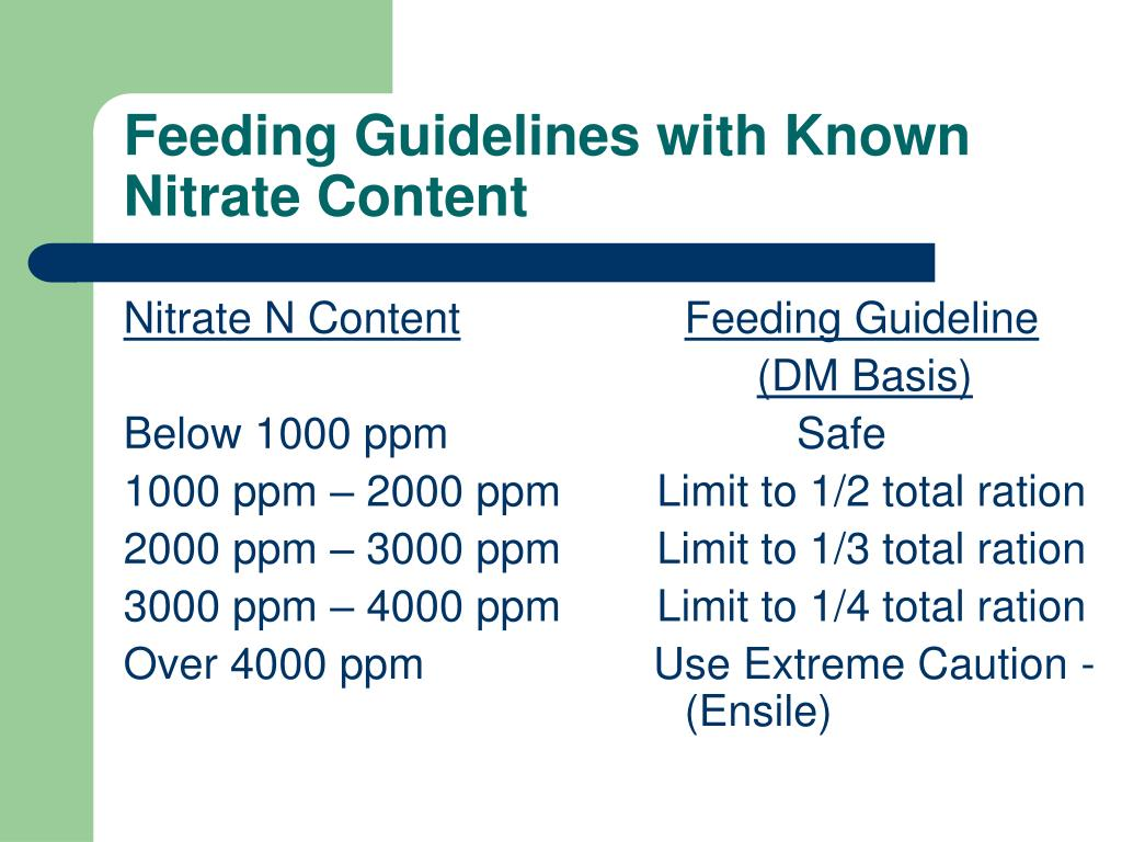 Feeding Guidelines with Known Nitrate Content
