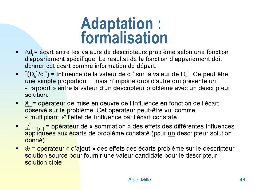 Adaptation : formalisation