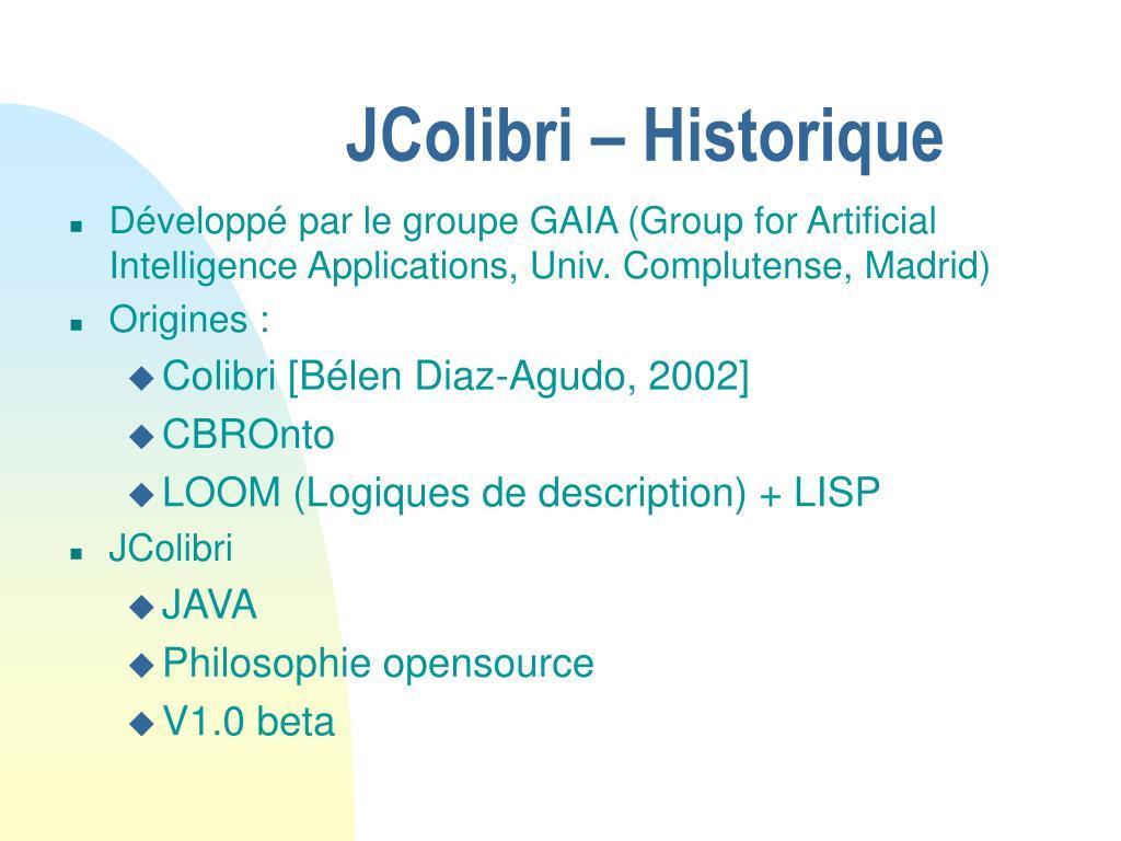 JColibri – Historique