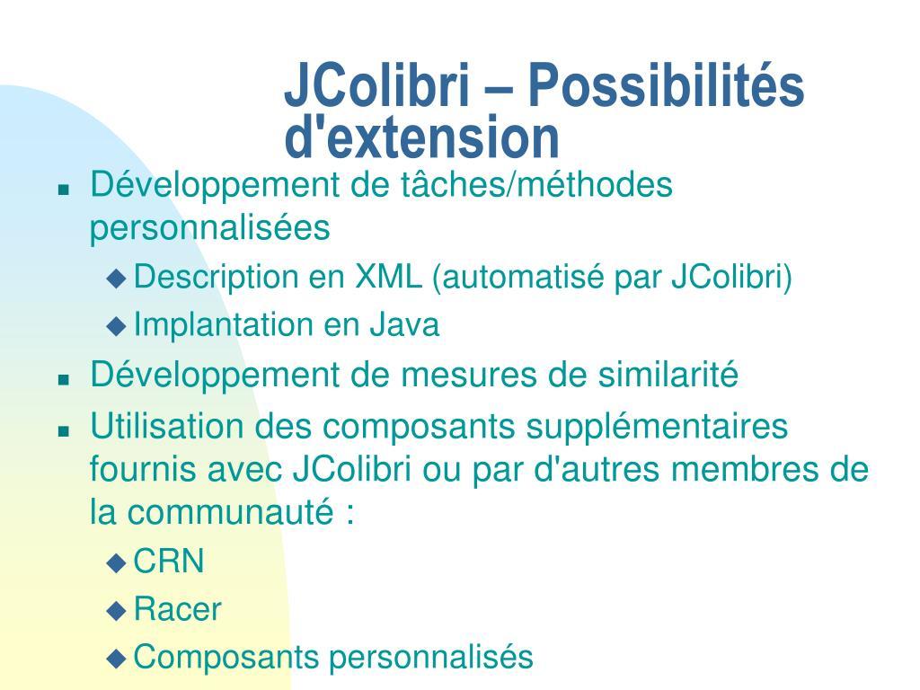 JColibri – Possibilités d'extension