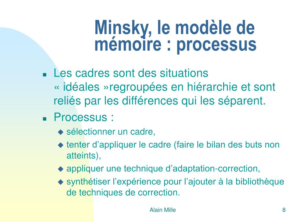 Minsky, le modèle de mémoire : processus