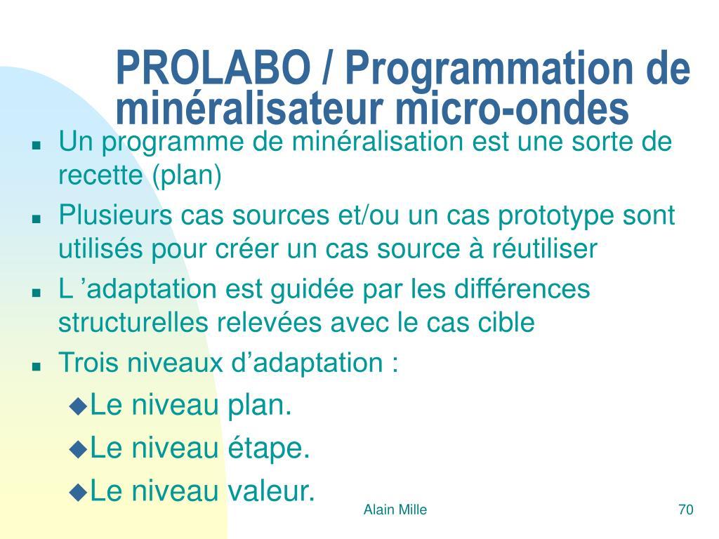 PROLABO / Programmation de minéralisateur micro-ondes
