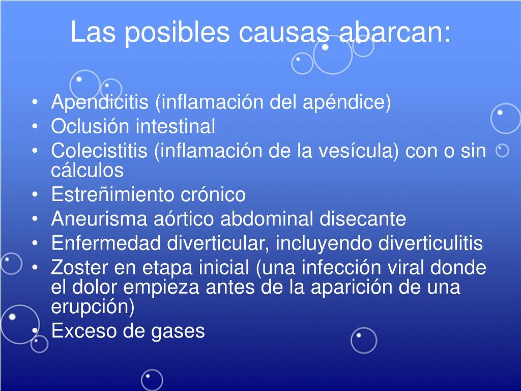 Las posibles causas abarcan: