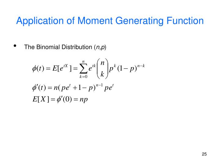 Application of Moment Generating Function
