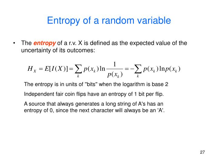 Entropy of a random variable