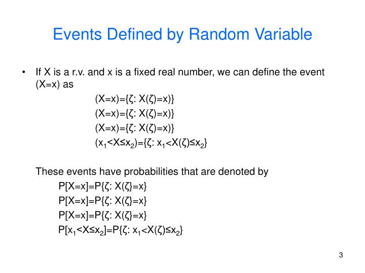 Events defined by random variable