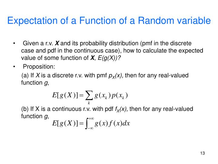 Expectation of a Function of a Random variable