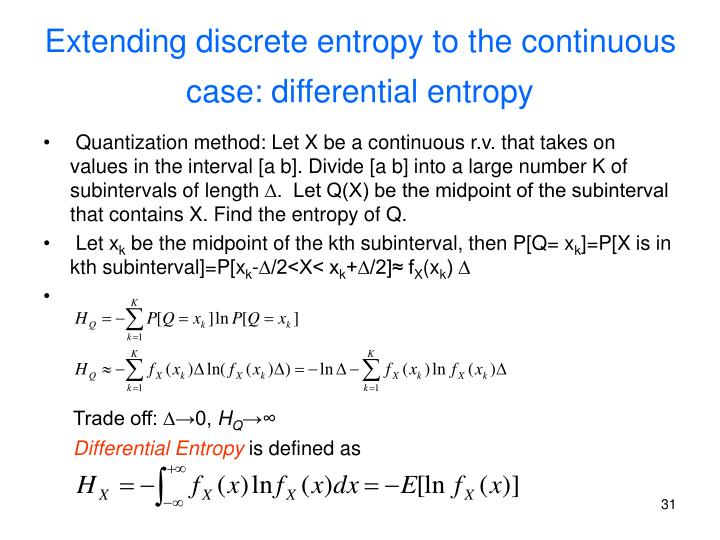 Extending discrete entropy to the continuous case: differential entropy