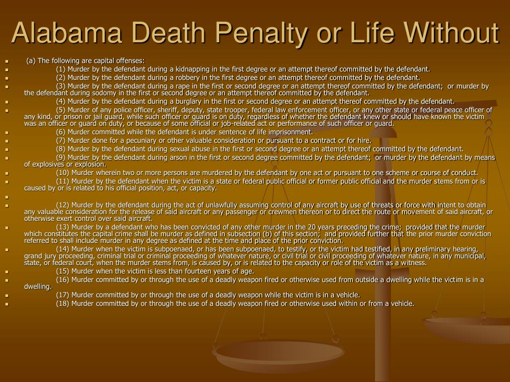 Alabama Death Penalty or Life Without