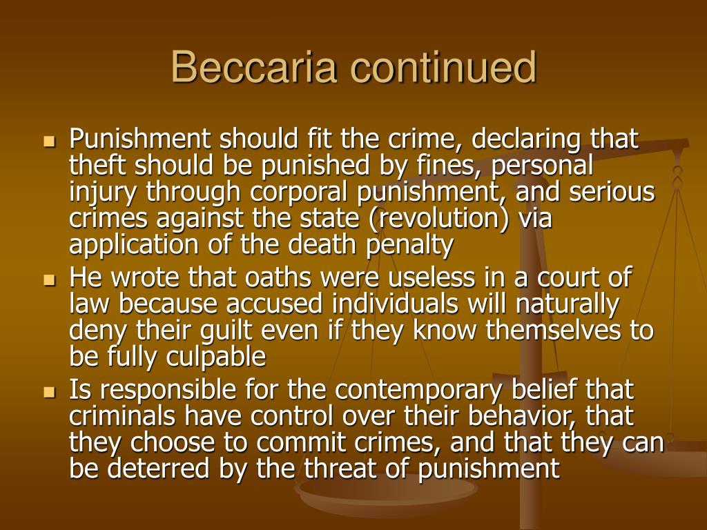 Beccaria continued