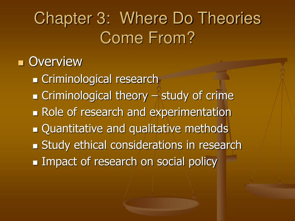 Chapter 3:  Where Do Theories Come From?