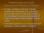 experimental and quasi experimental research designs
