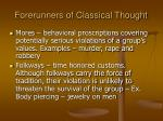 forerunners of classical thought