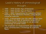 laub s history of criminological thought