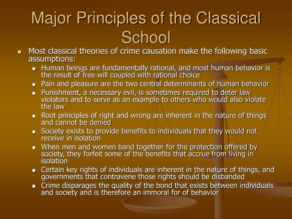 Major Principles of the Classical School