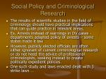 social policy and criminological research