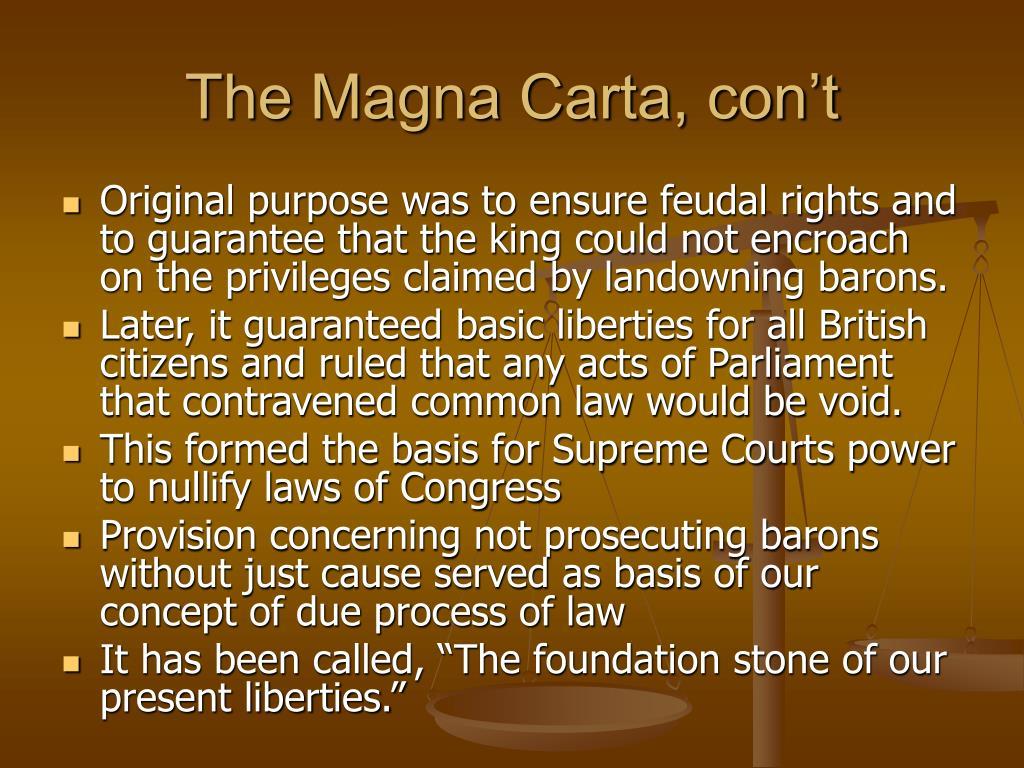 The Magna Carta, con't