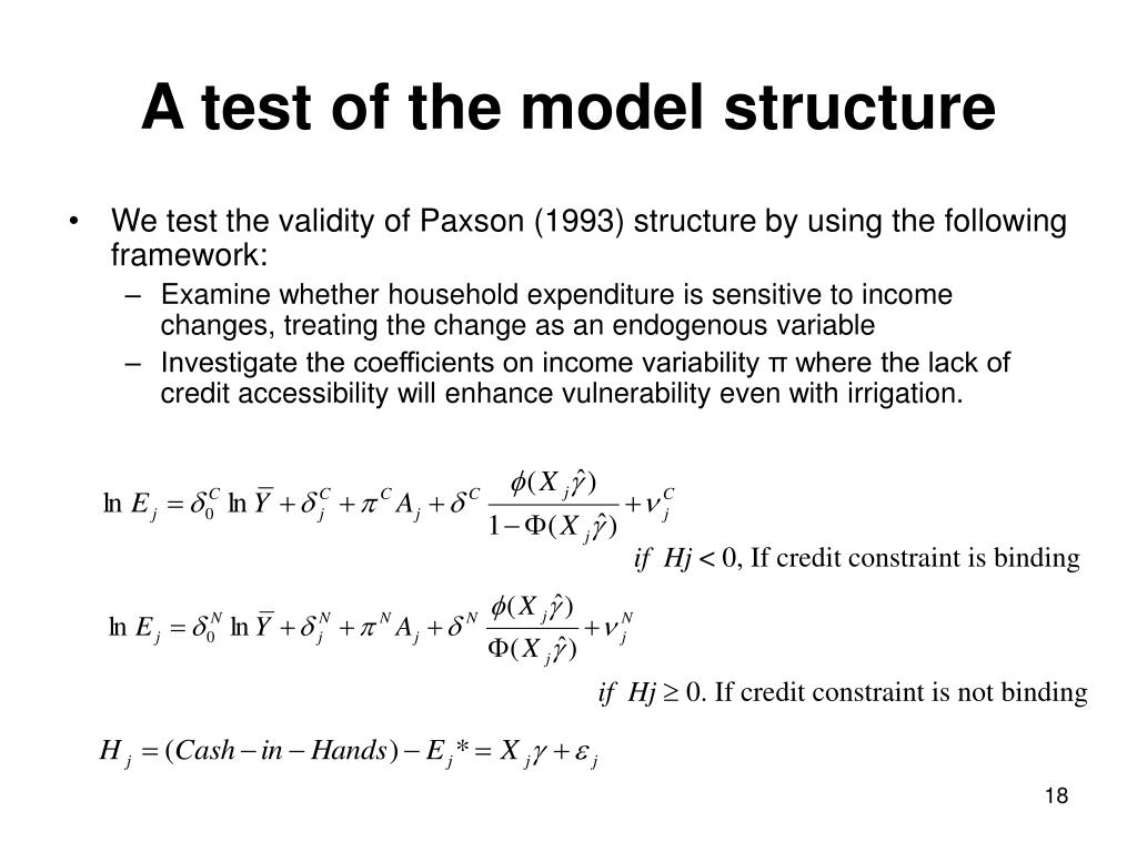 A test of the model structure