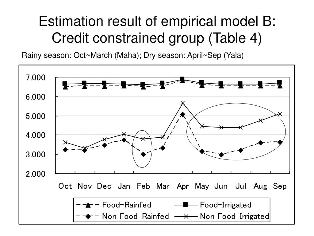 Estimation result of empirical model B: Credit constrained group (Table 4)