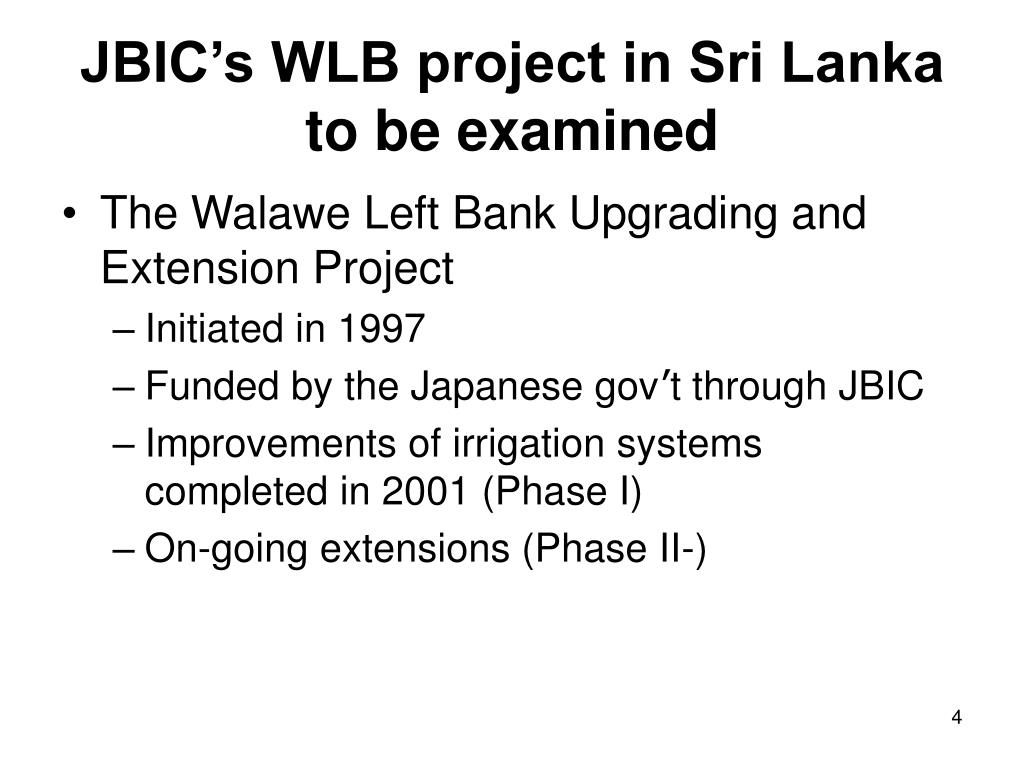 JBIC's WLB project in Sri Lanka