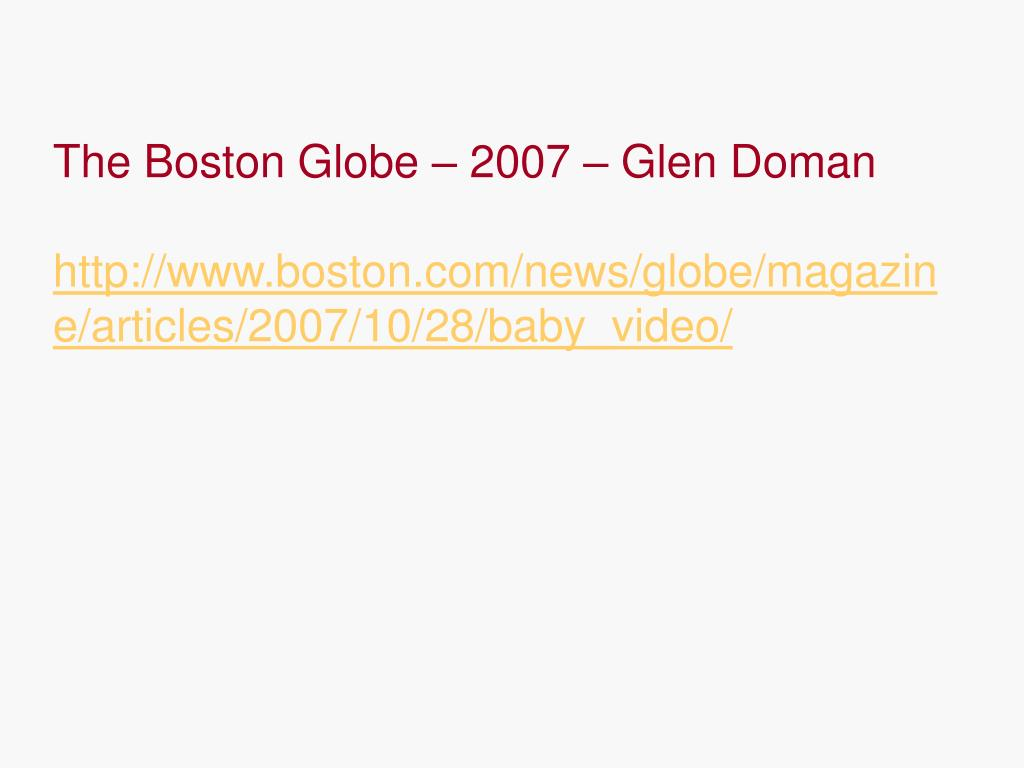 The Boston Globe – 2007 – Glen Doman