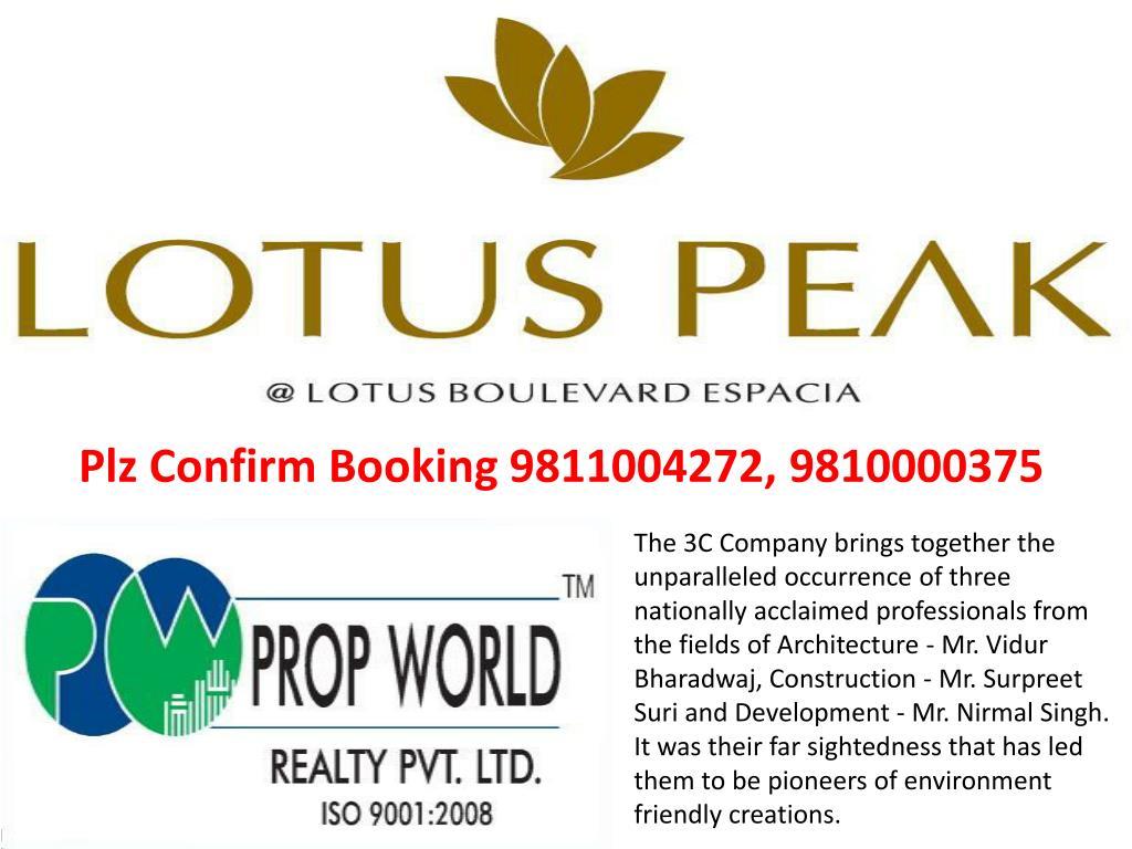 Plz Confirm Booking 9811004272, 9810000375