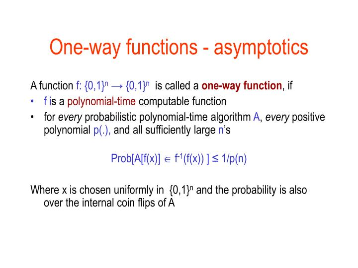 One-way functions - asymptotics