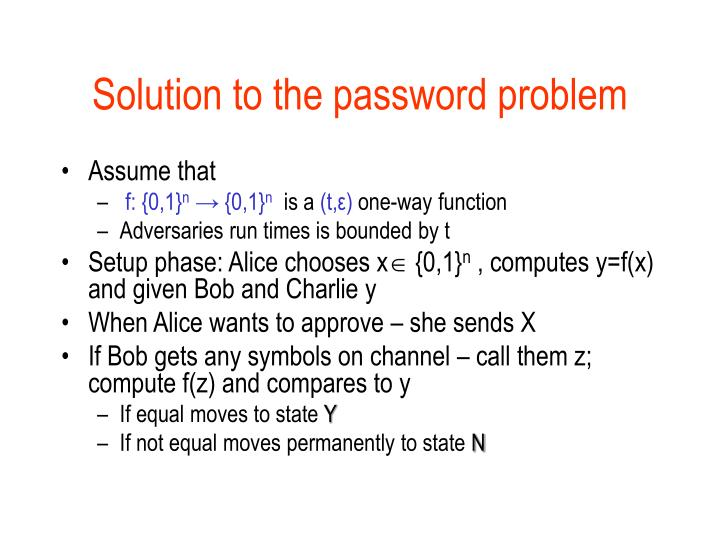 Solution to the password problem