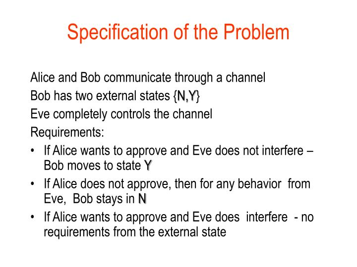 Specification of the Problem