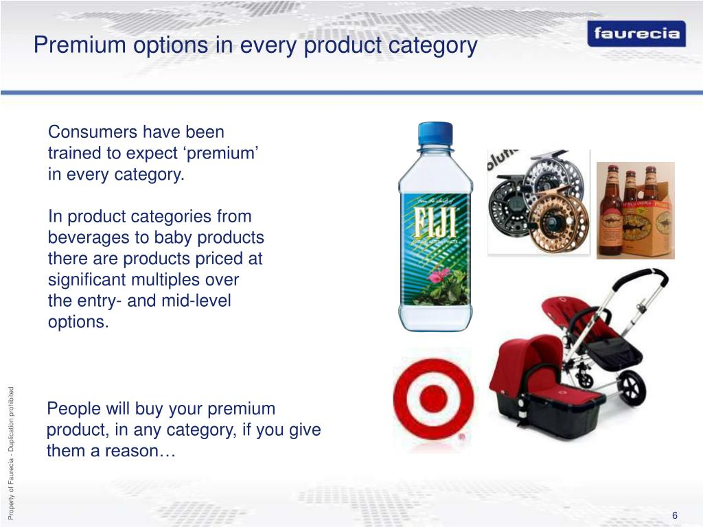 Premium options in every product category