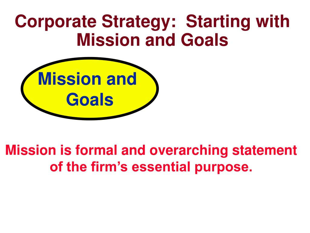 Corporate Strategy:  Starting with Mission and Goals