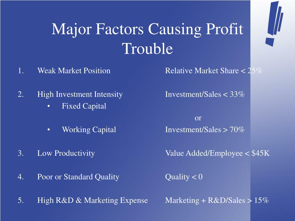 Major Factors Causing Profit Trouble