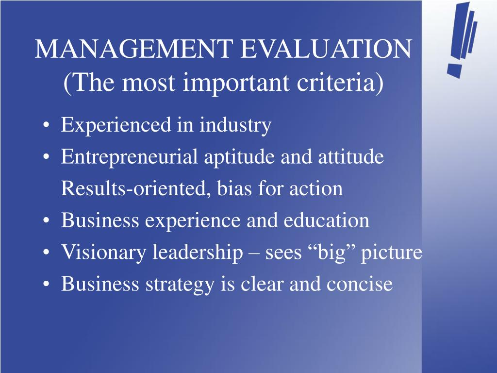 MANAGEMENT EVALUATION