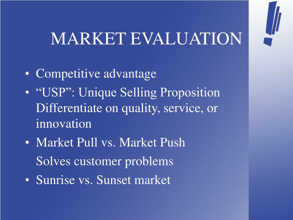 MARKET EVALUATION