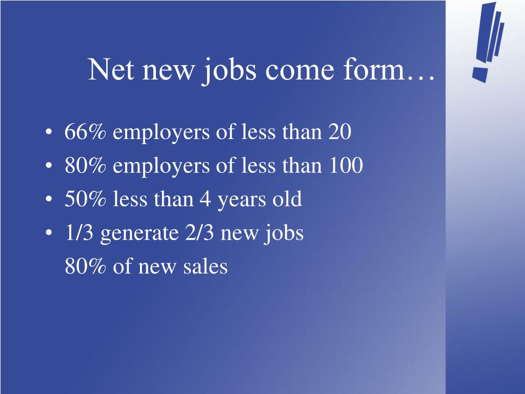 Net new jobs come form…