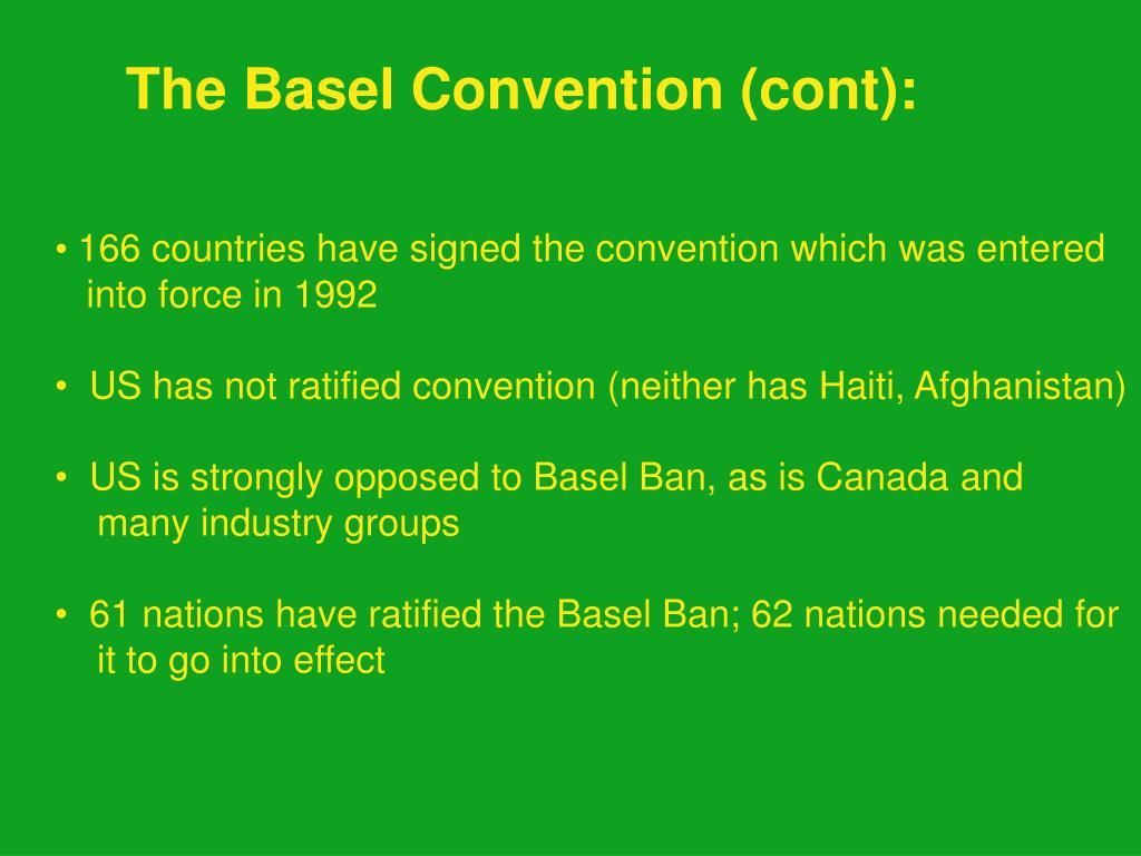 The Basel Convention (cont):