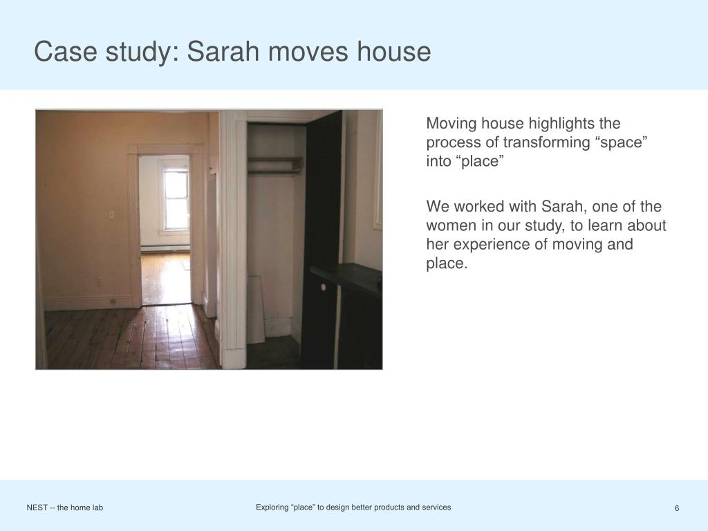 Case study: Sarah moves house